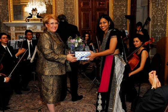 HE The President of Malta makes a presentation to the young composer, Natasha Senanayake, from Colombo, Sri Lanka, who is the Winner of the Commonwealth Music Competition 2014.